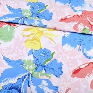 тик белый с красно-синими цветами, ш.220 оптом