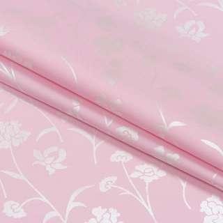 Тик наперниковый розовый в серебристые цветы, ш.220 оптом