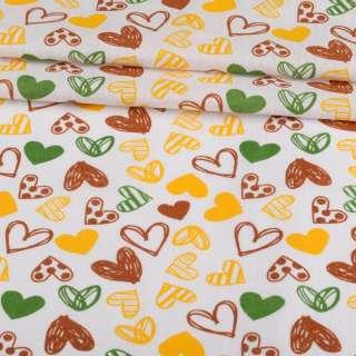 Ситец набивной белый, коричневые, желтые сердечки, ш.95 оптом