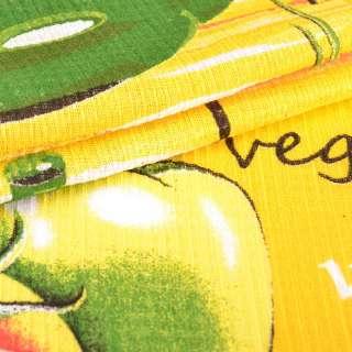 ткань полот. вафельная набив. желтая овощи, ш.40 оптом