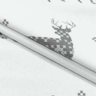 Фланель набивная біла, сірі олені, орнамент, ш.220 оптом