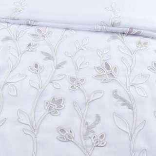 Вуаль белая с серой вышивкой и утяжелителем 1ст. купон (СТ 1700), ш.300 оптом