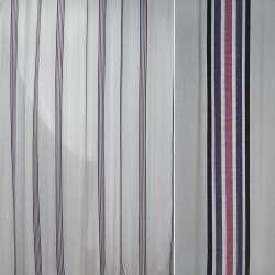 Батист белый в черную синюю сиреневую узкую полосу ш.300