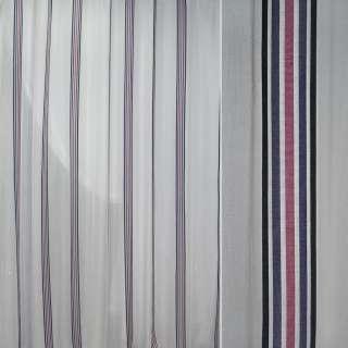 Батист білий в чорну синю бузкову вузьку смугу ш.300 оптом
