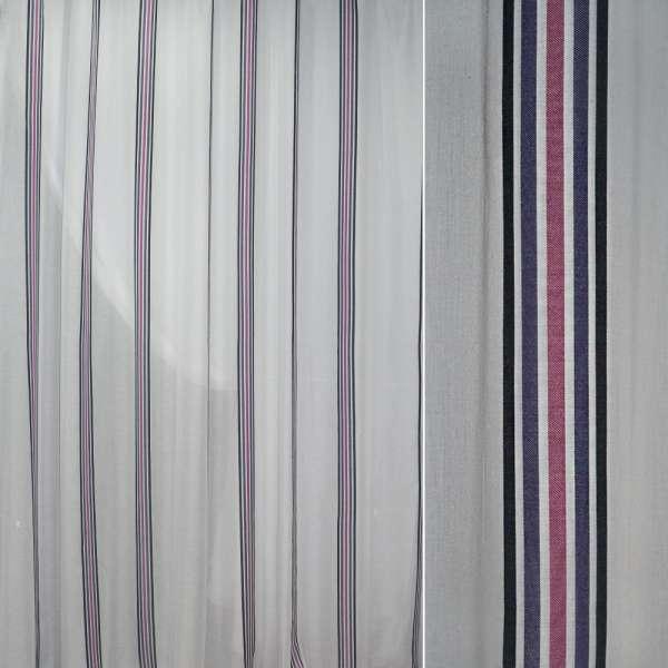 Батист белый в черную синюю сиреневую узкую полосу ш.300 оптом