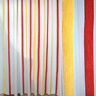 Батист гардинный с полосой широкой шенилловой желтой и красной белый, ш.300 оптом
