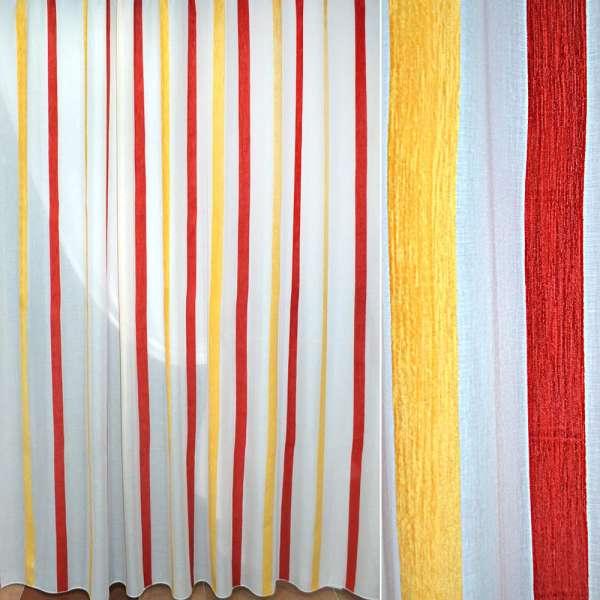Батист белый в желтую красную шенилловую полосу ш.300 оптом