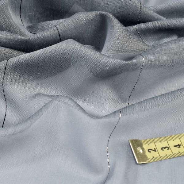 Батист гардинный серый с черно-серебристыми ниточными полосками, с утяжелителем, ш.300 оптом
