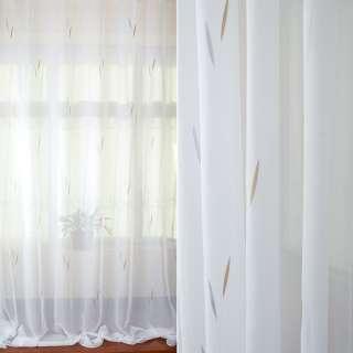 Вуаль біла в сірі, бежеві жакардові листочки з обважнювачем ш.280 оптом