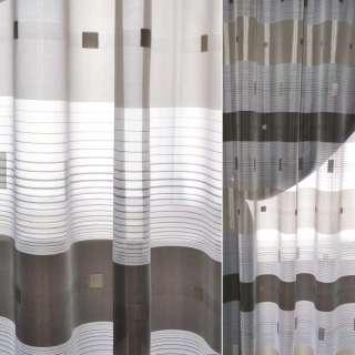 вуаль жаккард. белая с коричнев. полосками и квадратами Германия ш.150 оптом