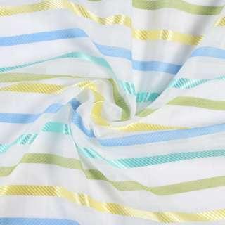 Вуаль льон деворе біла, синьо-жовті, зелено-бірюзові атласні смужки, ш.150 оптом