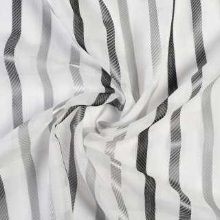 Вуаль льон деворе молочна в сірі смужки без обважнювача, ш.150 оптом