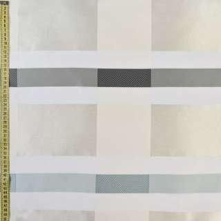 Вуаль деворе молочна з жакардовим молочно-сірими прямокутниками, ш.150 оптом