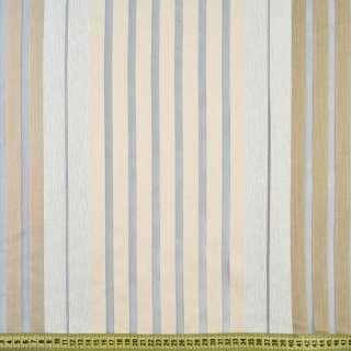 Органза сіра світла, бежево-білі шеніллові смужки, ш.150 оптом