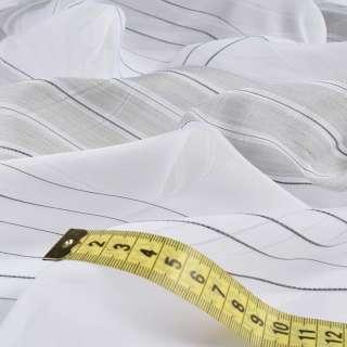 Вуаль біла в сріблясто-сірі ниткові смужки без обважнювача, ш.150 оптом