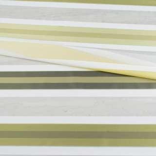 Вуаль тюль жаккард смужки атласні оливкові, біла без обважнювача, ш.148 оптом