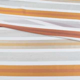 Вуаль тюль жаккард смужки атласні теракотові, біла без обважнювача, ш.148 оптом