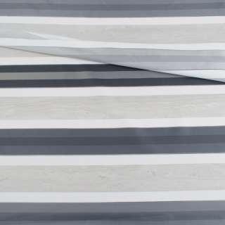Вуаль тюль жаккард смужки атласні сірі темні, біла без обважнювача, ш.148 оптом