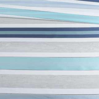Вуаль тюль жаккард смужки атласні блакитні, біла без обважнювача, ш.148 оптом