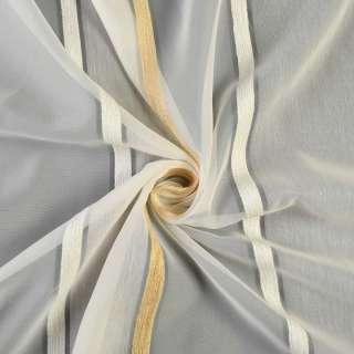 Лен-Вуаль кремовая в молочно-кремовые шенилловые полоски без утяжелителя, ш.180 оптом