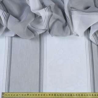 Вуаль белая в широкую серую полоску, узкие атласные полоски, ш.300 оптом