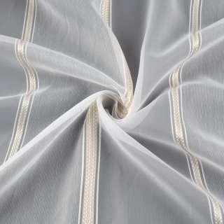 Вуаль біла з жакардовим бежевими смугами з обважнювачем ш.300 оптом