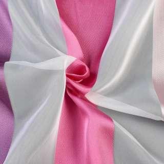 Вуаль белая в розовые, фиолетовые жаккардовые полоски, с утяжелителем, ш.300 оптом