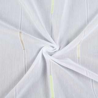 Вуаль деворе белая в салатовые и бежевые штрихи, с утяжелителем, ш.300 оптом