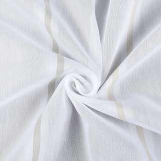 Вуаль молочная в бело-серые, бело-бежевые полоски, с утяжелителем, ш.300 оптом