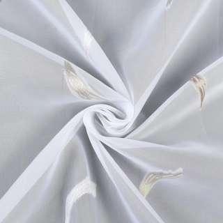 Вуаль деворе белая в молочные, бежевые завитки, с утяжелителем, ш.280 оптом
