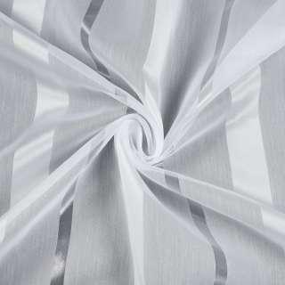 Вуаль белая в атласную бежево-белую, прозрачную полоску, с утяжелителем, ш.280 оптом