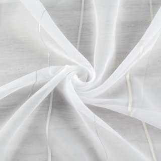 Вуаль біла в кремову жакардову і сріблясту смужку з обважнювачем ш.260 оптом