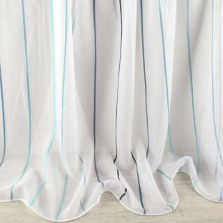 Вуаль біла в синю, блакитну жакардову смужку з обважнювачем ш.260 оптом