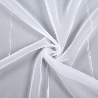 Вуаль белая в двойные ниточные полосы и бежевые штрихи, с утяжелителем, ш.260 оптом