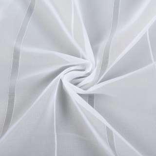 Вуаль белая с тонкими жаккардовыми и ниточными полосками, ш.260 оптом