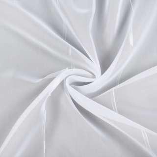 Вуаль белая в двойные ниточные полосы, белые штрихи, с утяжелителем, ш.260 оптом