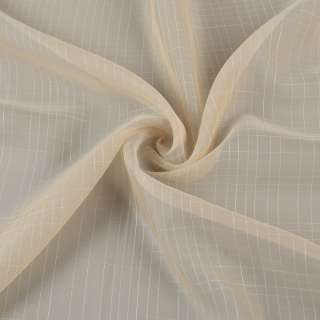 Вуаль бежева в білу ниткову клітку з обважнювачем ш.300 оптом