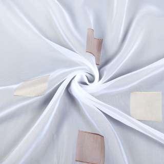 Вуаль белая в бежевые и коричневые квадраты, с утяжелителем, ш.300 оптом