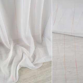 Вуаль біла з різнокольоровими нитковими смужками з обважнювачем ш.300 оптом