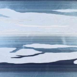 Вуаль деворе белая в белые и сине-голубые волны, ш.140 оптом