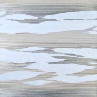 Вуаль деворе белая в серые и бежевые волны, ш.140 оптом