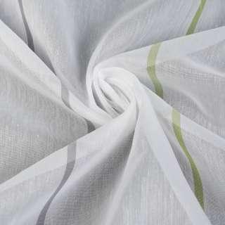 Вуаль белая в зеленые полоски, с утяжелителем, ш.300 оптом