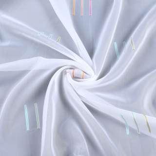 Вуаль деворе белая в оранжевые и бирюзовые штрихи, с утяжелителем, ш.260 оптом