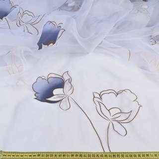Органза белая в сине-коричневые цветы, без утяжелителя, ш.300 оптом