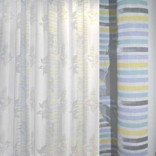 Деваре белое в желто-голубые полоски ш.280 оптом