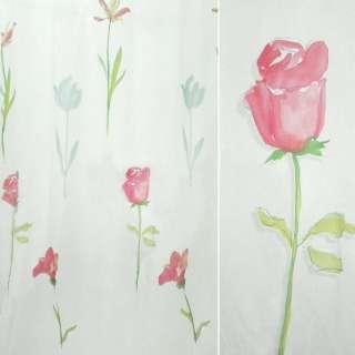 органз. деворе белая с розов.розами и тюльпан. оптом