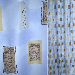 Гардинная органза голубая Деваре коричневая оптом