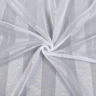 Лен гардинный белый в широкие блестящие полосы, с утяжелителем, ш.180 оптом