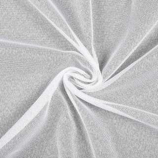 Лен гардинный белый в блестящие ниточные полосы, с утяжелителем, ш.180 оптом