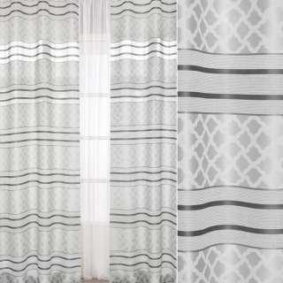 Лен жаккардовый серый светлый в темно-серые полоски, ш.150 оптом